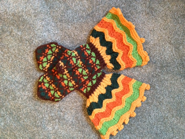 Brown and Orange Mittens- Magnificent Mittens and Socks by Anna Zilboorg