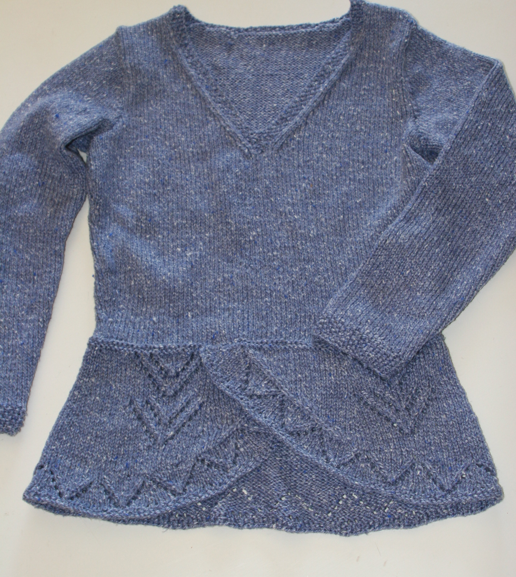 "Denim Blue Peplum Sweater – Tweed by Nancy J. Thomas – ""Northern Ireland Peplum Sweater"" knitted in Denim 064"