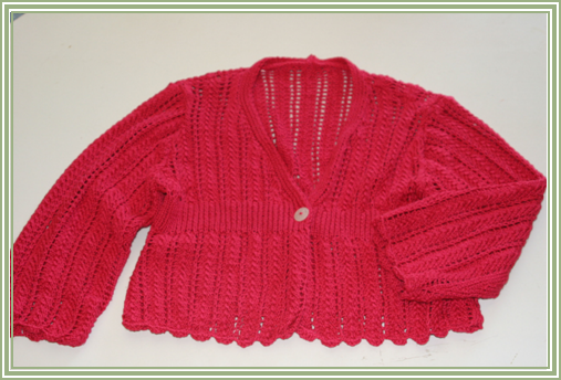 "Pink cardigan – Rowan Lenpur Linen Collection by Sarah Hatton – ""Katia"" knitted in Lenpur Lenin, Color: Vivid 563"