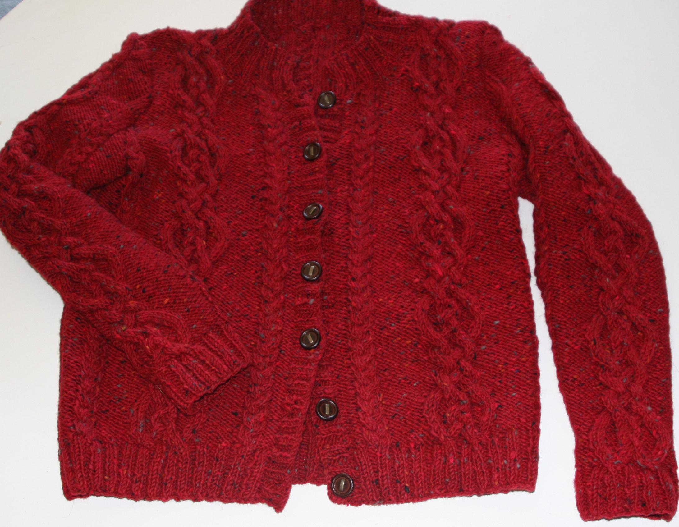 """Red Tweed Cardigan – Tweed by Nancy J. Thomas – """"Isle of Skye Jacket"""" knitted in Tahki Yards Donegal Tweed, Color: red 863"""