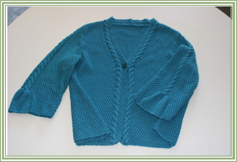 "Teal Cardigan – Rowan Lenpur Linen Collection by Sarah Hatton – ""Cari"" knitted in Lenpur Lenin, Color: Lagoon 565"