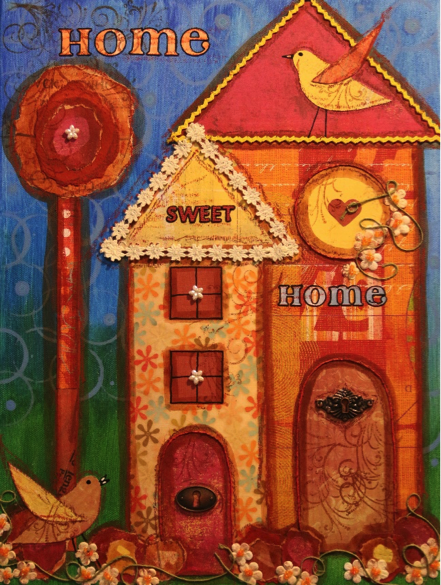 Home Sweet Home – Red (Mixed Media)