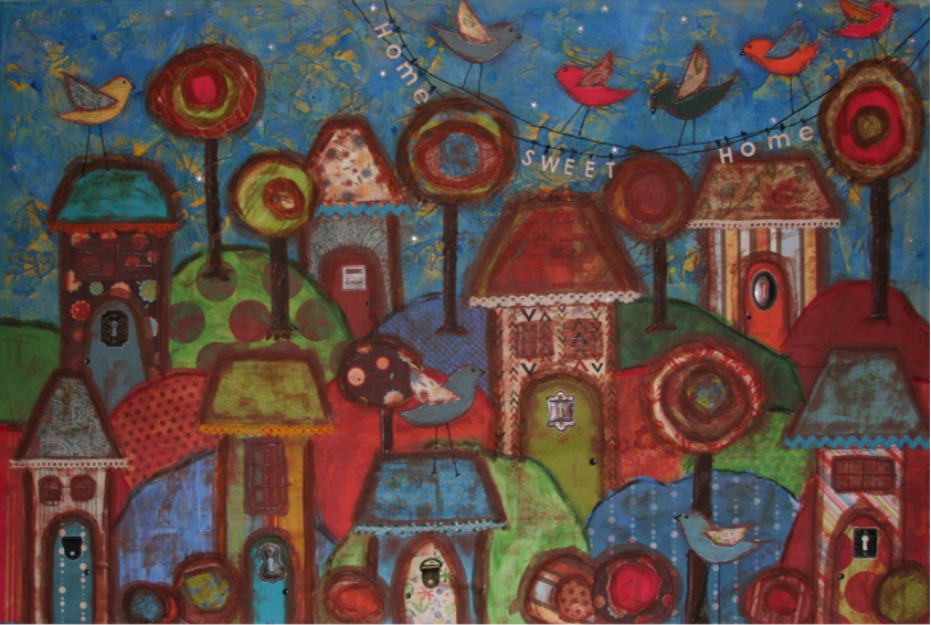 Home Sweet Home – Blue (Mixed Media)