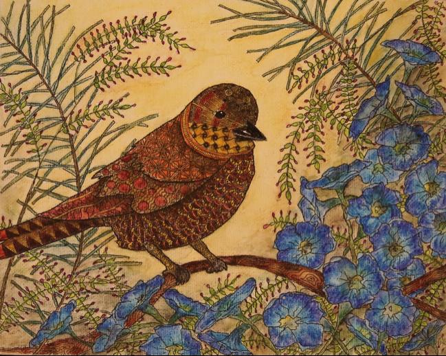 Wren and Petunias (Watercolor)