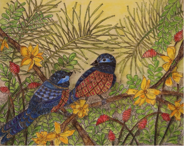 Bluebirds and Forsythia (Watercolor)