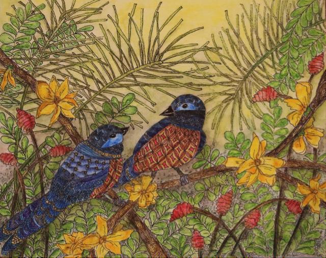 Bluebirds and Forsythia (Watercolor)