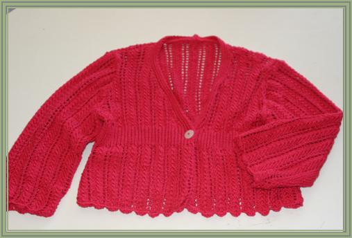 "Pink cardigan – Rowan Lenpur Linen Collection by Sarah Hatton – ""Katia"" knitted in Lenpur Lenin, Color: Vivid 563"