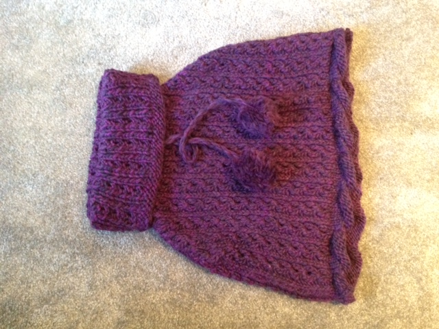 Purple Caplet – Rowan Winter Drift, Pattern: Coddle by Lisa Richardson