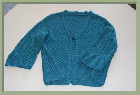 "Teal Cardigan – Rowan Lenpur Linen Collection by Sarah Hatton – ""Cari"" knitted in Lenpur Lenin, Color: Lagoon 565"